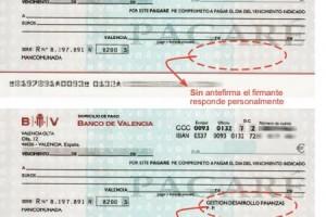 Pagarés sin antefirma: responde personalmente quien lo firma